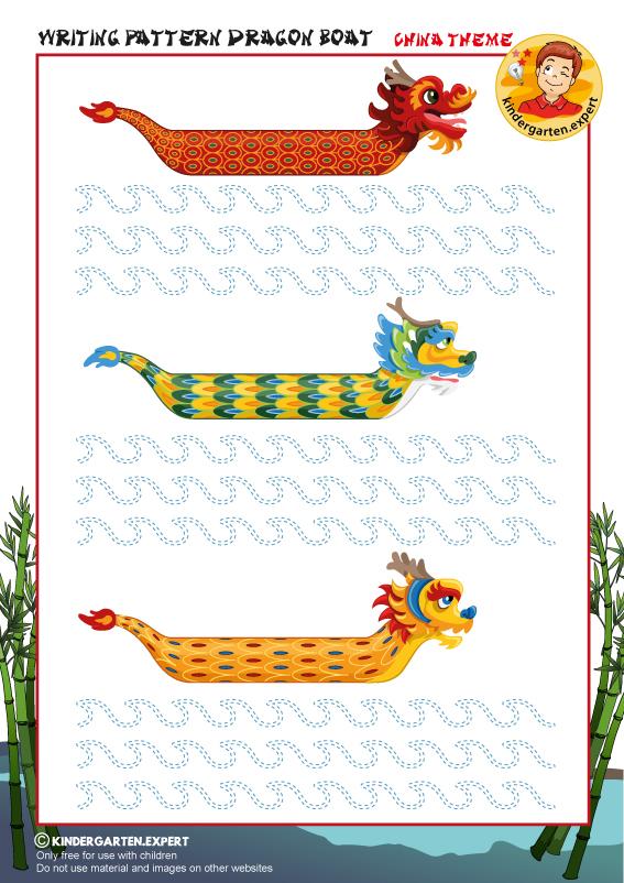 Writing pattern dragon boat, kindergarten.expert, China theme, free printable