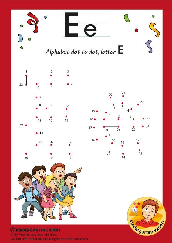 Alphabet dot to dot letter E, kindergarten.expert, free printable