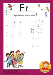 Alphabet dot to dot letter F, kindergarten expert, free printable