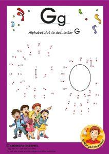 Alphabet dot to dot letter G, kindergarten expert, free printable