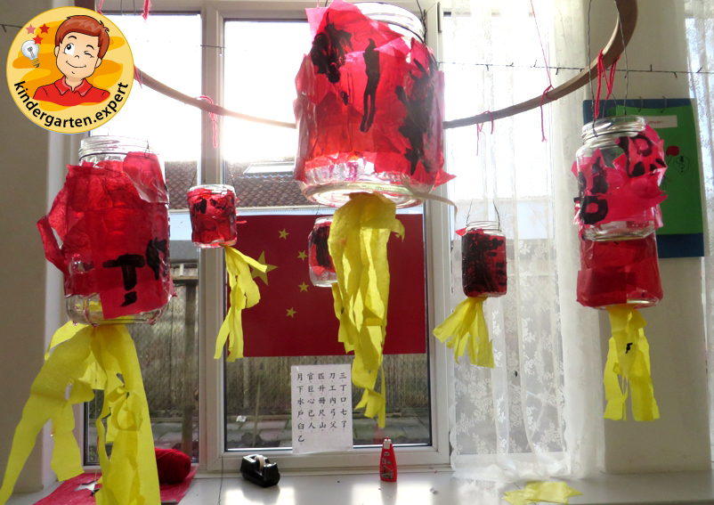 Chinese lanterns of jars pasted with tissue paper, China theme, kindergarten.expert