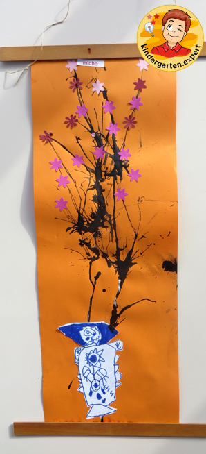 Chinese painting of cherry blossom in a Chinese vase 4, China theme, kindergarten expert