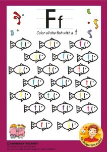 Color all the fish with a F, kindergarten expert, free printable