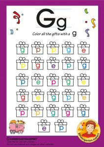 Color all the gifts with a G, kindergarten expert, free printable