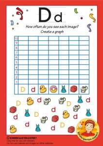 Create a graph, letter D for kids, kindergarten expert, free printable