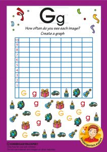 Create a graph, letter G for kids, kindergarten expert, free printable