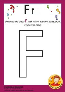 Decorate the capital letter F with colors, markers, paint, chalk,, kindergarten expert, free printable