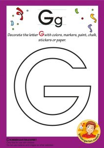Decorate the capital letter G with colors, markers, paint, chalk,, kindergarten expert, free printable