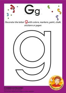 Decorate the letter g with colors, markers, paint, chalk,, kindergarten expert, free printable