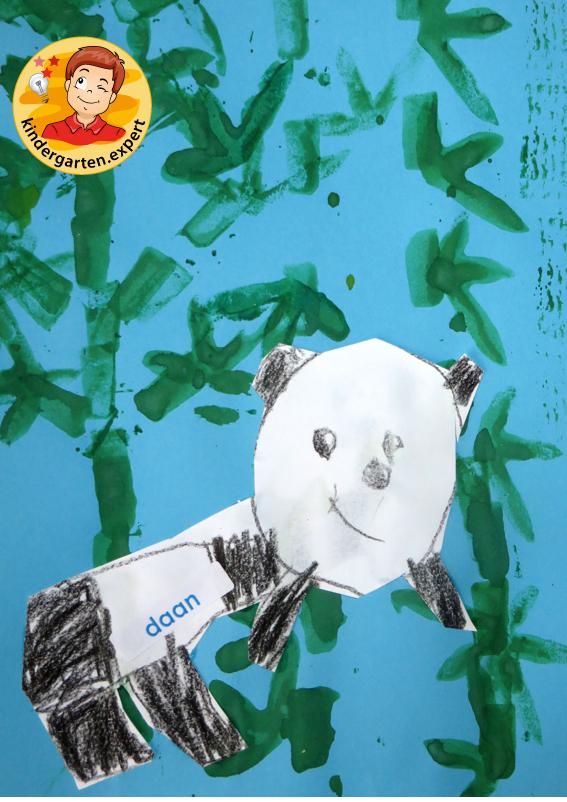 Draw and stamp a panda bear 4, China theme, kindergarten expertDraw and stamp a panda bear 4, China theme, kindergarten expert