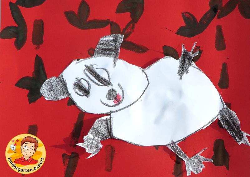 Draw and stamp a panda bear 6, China theme, kindergarten expert