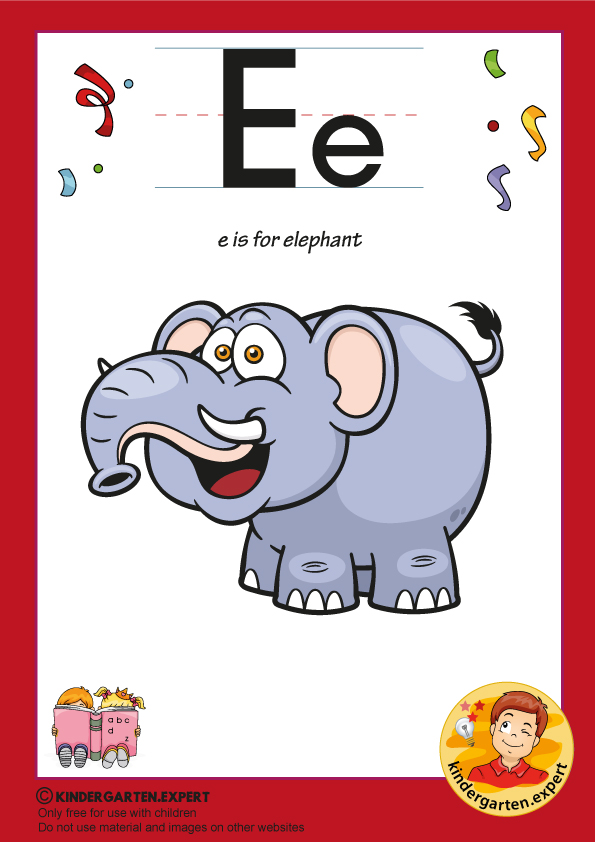 E is for elephant, kindergarten.expert, free printable