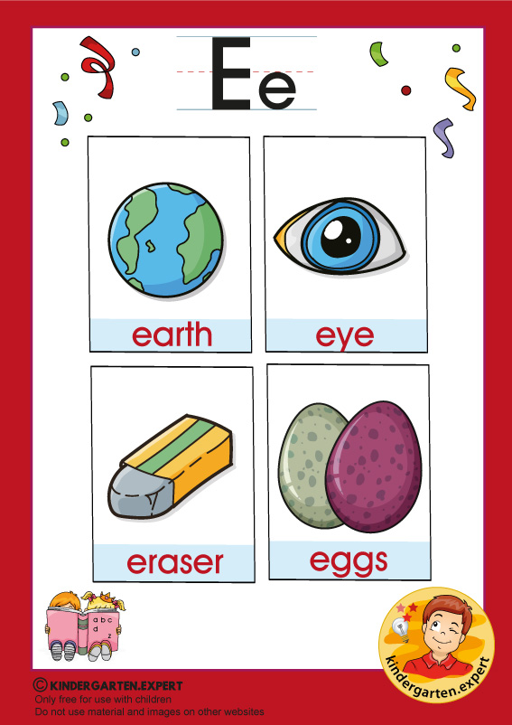 Early Childhood Sight Words, letter E, for kindergarten, kindergarten.expert, free printable