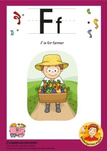 F is for farmer, kindergarten expert, free printable