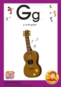 G is for guitar, kindergarten expert, free printable