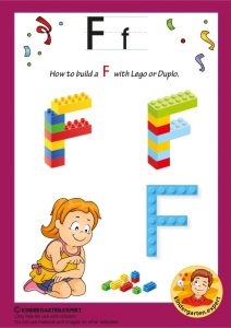 How to build a F with Lego or Duplo, kindergarten expert, free printable