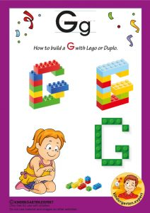 How to build a G with Lego or Duplo, kindergarten expert, free printable