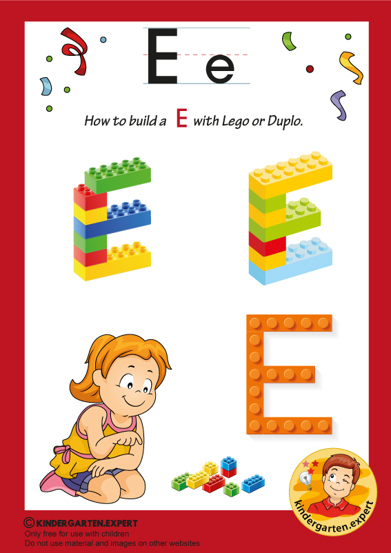 How to build an E with Lego or Duplo, kindergarten expert, free printable