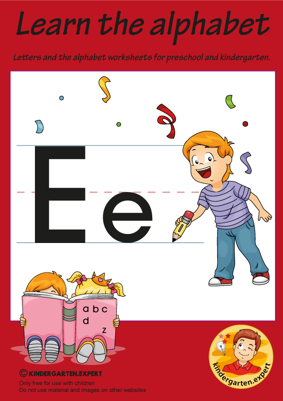 Letters & alphabet worksheets for preschool and kindergarten, letter E, kindergarten expert, free printable