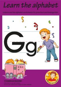 Letters & alphabet worksheets for preschool and kindergarten, letter G, kindergarten expert, free printable