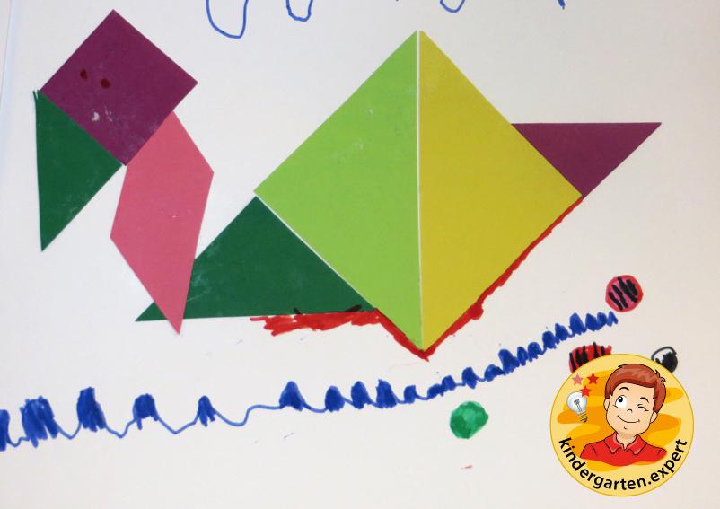 Making a Chinese tangram 1, China theme, kindergarten expert