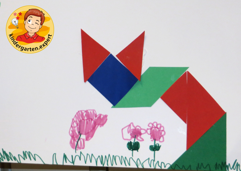 Making a Chinese tangram 2, China theme, kindergarten expert