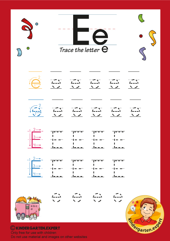 Trace the letter E for kindergarten, kindergarten expert, free printable