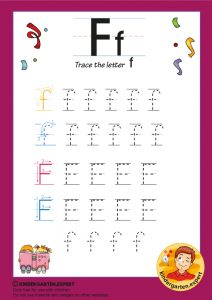 Trace the letter F for kindergarten, kindergarten expert, free printable