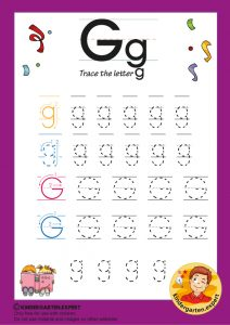 Trace the letter G for kindergarten, kindergarten expert, free printable