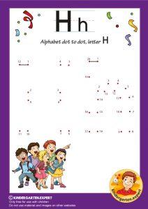 Alphabet dot to dot letter H, kindergarten expert, free printable
