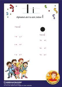 Alphabet dot to dot letter I, kindergarten expert, free printable