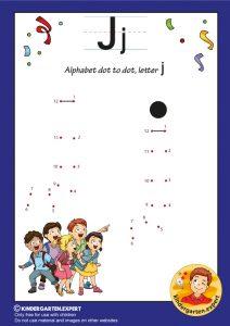 Alphabet dot to dot letter J, kindergarten expert, free printable