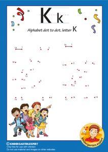 Alphabet dot to dot letter K, kindergarten expert, free printable