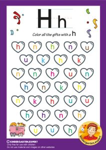 Color all the hearts with a H, kindergarten expert, free printable