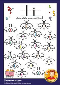 Color all the insects with an I, kindergarten expert, free printable