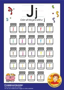 Color all the jars with an J, kindergarten expert, free printable