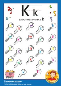Color all the keys with a K, kindergarten expert, free printable