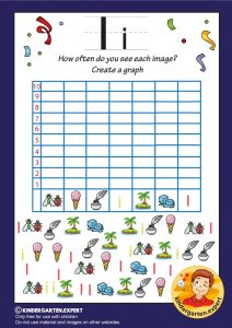 Create a graph, letter I for kids, kindergarten expert, free printable