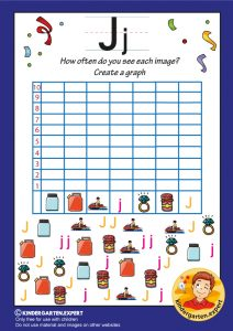 Create a graph, letter J for kids, kindergarten expert, free printable