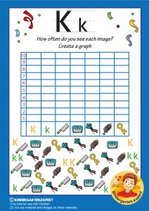 Create a graph, letter K for kids, kindergarten expert, free printable