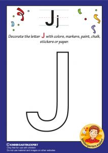 Decorate the capital letter J with colors, markers, paint, chalk,, kindergarten expert, free printable