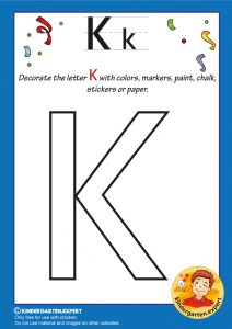 Decorate the capital letter K with colors, markers, paint, chalk,, kindergarten expert, free printable