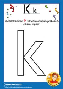 Decorate the letter K with colors, markers, paint, chalk,, kindergarten expert, free printable