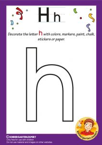 Decorate the letter h with colors, markers, paint, chalk,, kindergarten expert, free printable