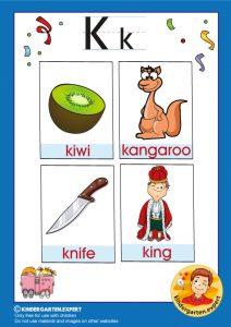 Early Childhood Sight Words, letter K, for kindergarten, kindergarten expert, free printable