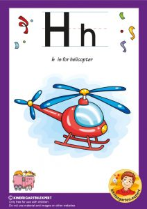 H is for helicopter, kindergarten expert, free printable