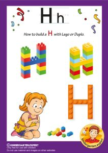 How to build a H with Lego or Duplo, kindergarten expert, free printable
