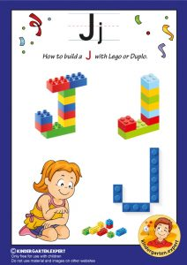 How to build a J with Lego or Duplo, kindergarten expert, free printable