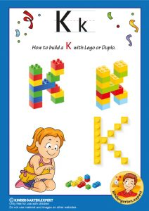 How to build a K with Lego or Duplo, kindergarten expert, free printable
