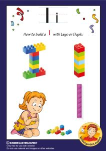 How to build an I with Lego or Duplo, kindergarten expert, free printable